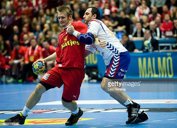World Championship Malmø Denmark vs Serbia Lasse Boesen Danmark / Denmark Alem Toskic Serbien / Serbia ©Lars Rønbøg / Frontzonesport