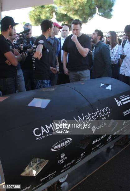 Elon Musk examines the pod built by a team of students from the University of Waterloo To accelerate the development of a functional Hyperloop...