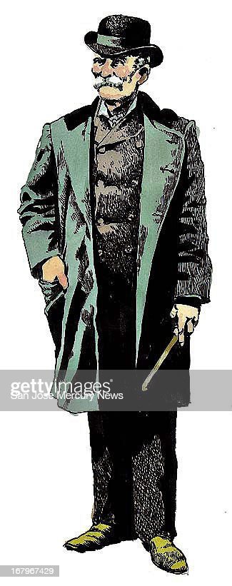 17p x 19p Jim Hummel color illustration of Charles Bolton, also known as Black Bart; Bolton was bandit during California gold rush.