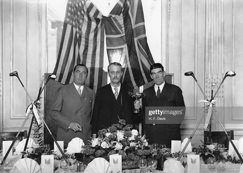 American business man and founder of the Ryder Cup Samuel Ryder with American team captain Walter Hagen and British team captain George Duncan at a...