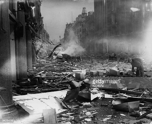Bomb damage to Oxford Street London following the Blitz of World War II