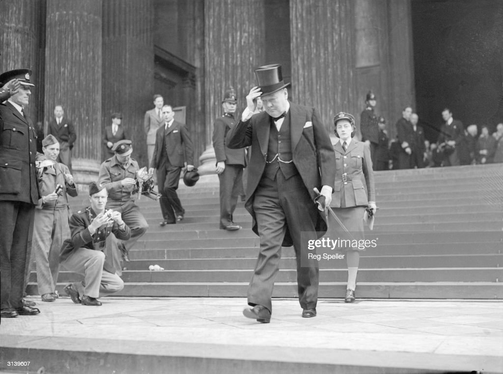 British Conservative politician and Prime Minister, Winston Churchill with his daughter Sarah, leaving the memorial service at St Paul's Cathedral for the American President Franklin Delano roosevelt.