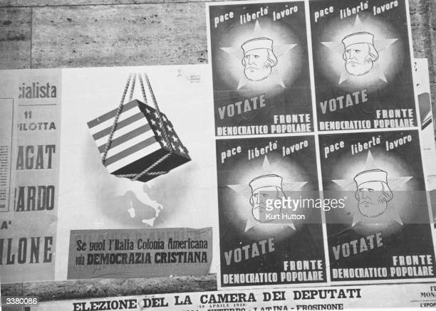 Election posters Italy's elections some antiChristian Democrat and antiUSA Original Publication Picture Post 4545 Italy votes On Europe's Future pub...