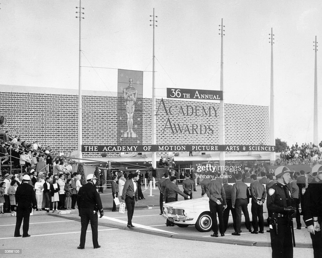 Crowds gathered outside the Beverly Hills Hilton Hotel in Hollywood for the Academy Awards ceremony.