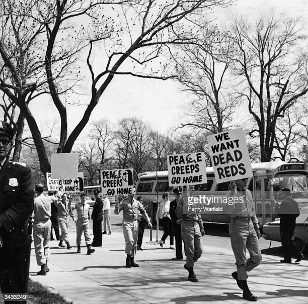 American soldiers stage a march in support of the Vietnam War and in harsh opposition to the conscientious objectors Washington DC