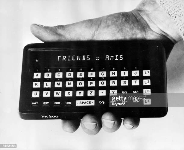 A pocket translator and calculator made by the company FrancoAmerican Friends With a repertoire of 7000 words for each language it costs1400 francs