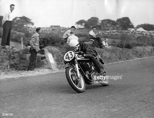 Rider John Hartle a contestant in the 500cc event racing on a Norton motorcycle in the International Ulster Grand Prix at Belfast