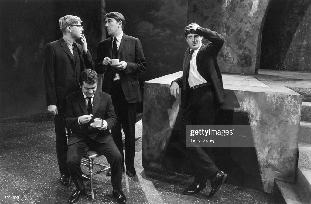 Comedians Alan Bennett Peter Cook Dudley Moore and Jonathan Miller while filming 'Beyond the Fringe' at the BBC