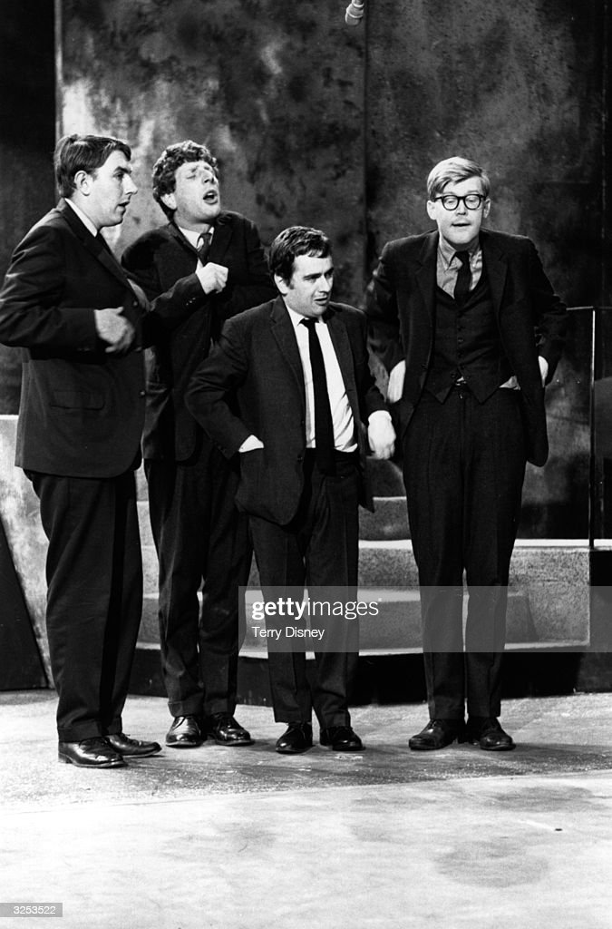 Participants in the satirical British revue show 'Beyond The Fringe' Peter Cook Jonathan Miller Dudley Moore and Alan Bennett