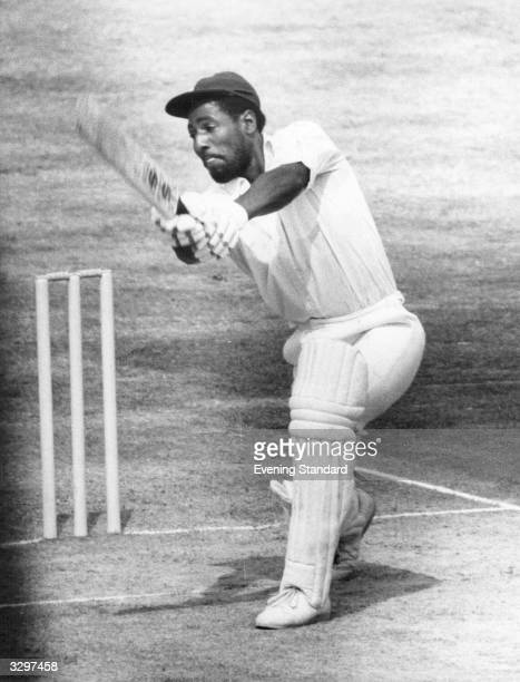 Cricketer Viv Richards in action at the wicket