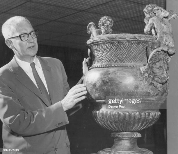 JUL 19 1958 JUL 20 1958 OCT 7 1966 17th Century French Garden Vases Given To Denver Art Museum Dr Otto Karl Bach admires gift of Miss Helen Bonfils...