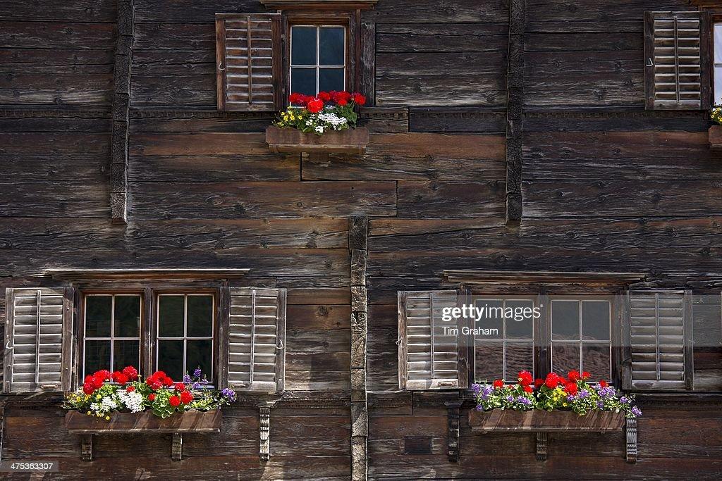 17th Century Rathaus Haus Jeuch town hall built 1680 in Klosters Graubunden Switzerland