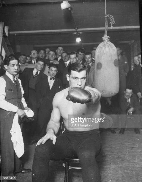 Italian heavyweight boxer Primo Carnera during a training session at the London Sports Club