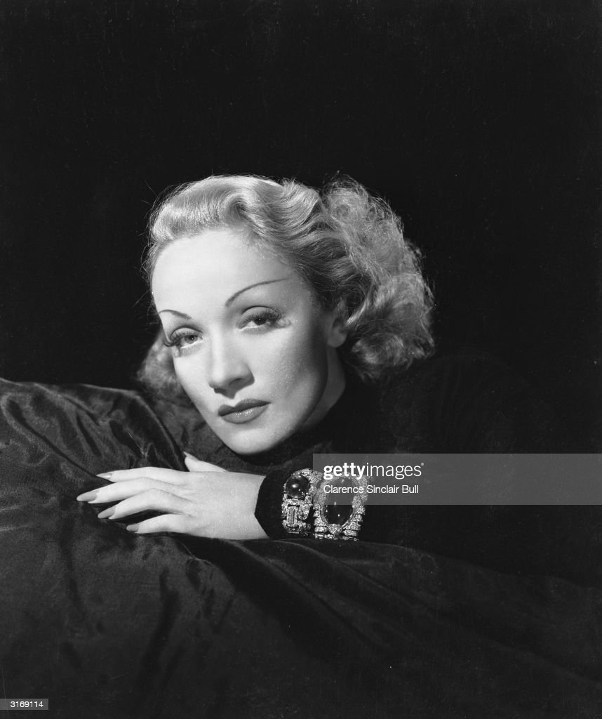 German-born actress <a gi-track='captionPersonalityLinkClicked' href=/galleries/search?phrase=Marlene+Dietrich&family=editorial&specificpeople=70018 ng-click='$event.stopPropagation()'>Marlene Dietrich</a> (1901 - 1992) wearing a jewel-encrusted bracelet.