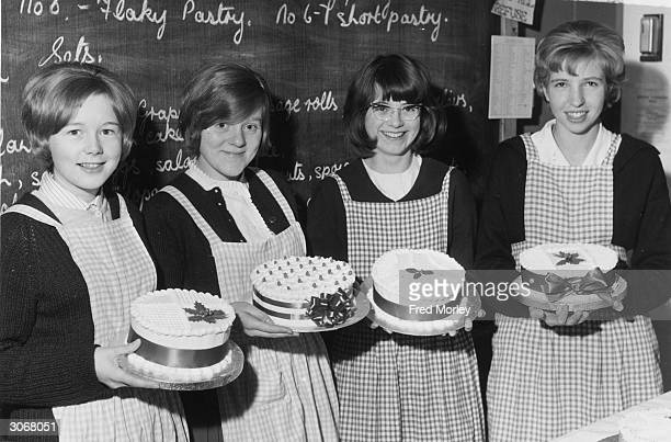 From left to right Susan Andrews Christine Brain Jennifer Paxton and Judy Evans four pupils of the Clarendon School in South Oxhey Hertfordshire...