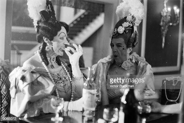 British dancer choreographer and Director of London's Royal Ballet Frederick Ashton and Robert Helpmann as the two ugly sisters in the Royal Ballet...