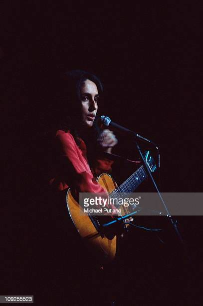 Joan Baez performs on stage at the Rainbow theatre in London on 17th December 1971