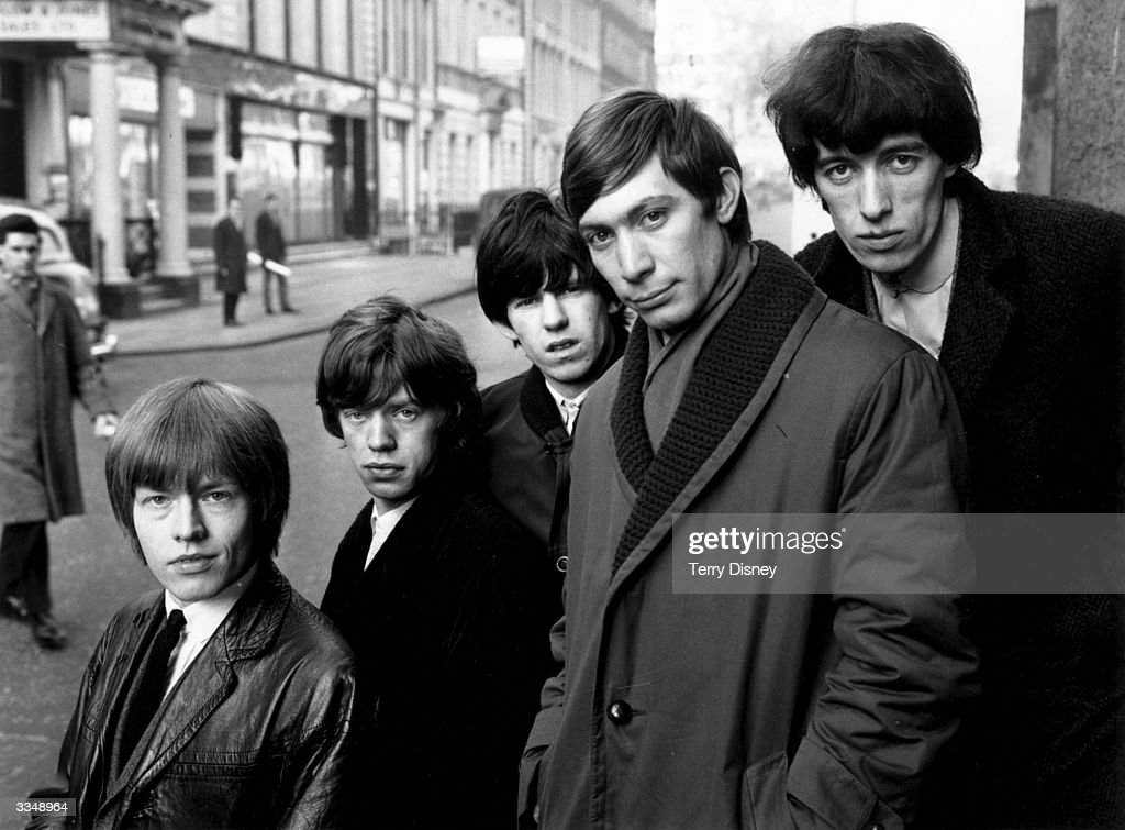British pop group The Rolling Stones in London From left to right Brian Jones Mick Jagger Keith Richards Charlie Watts and Bill Wyman