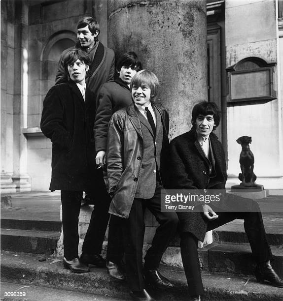 British rock group the Rolling Stones Charlie Watts Mick Jagger Keith Richards Brian Jones and Bill Wyman outside St George's Church Hanover Square...