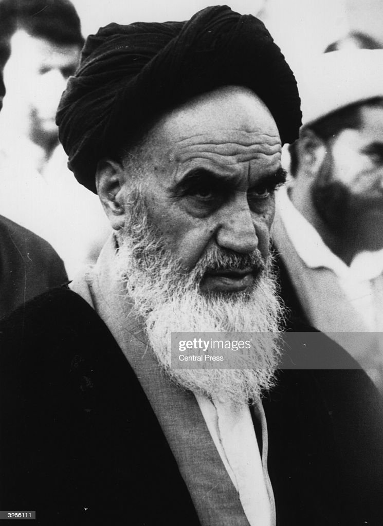 Ayatollah Ruhollah Khomeini (1900 - 1989), the Iranian religious and political leader.