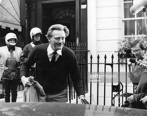 English politician Michael Heseltine leaves his London home after his resignation as defence secretary after his claims of being slandered over the...