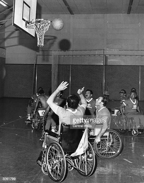A view of the paraplegic Israeli team of basketball players training in the Stoke Mandeville Stadium in Aylesbury in preparation for the...