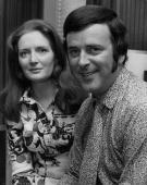 Exrugger player and radio personality Terry Wogan relaxes at home with his wife Helen