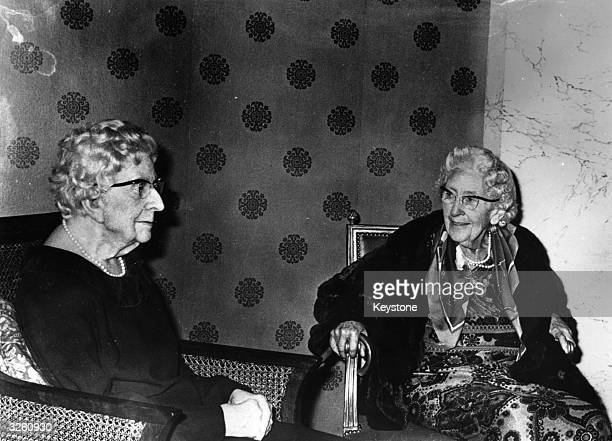 Dame Agatha Christie confronts her wax image in the new grand hall of Madame Tussaud's The sculptor was Lyn Kramer