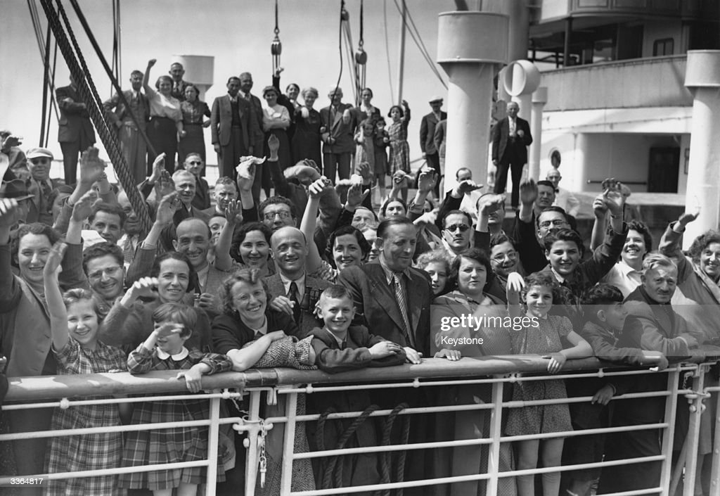 Some of the 700 Jewish refugees aboard HamburgAmerica liner St Louis on arrival at Antwerp