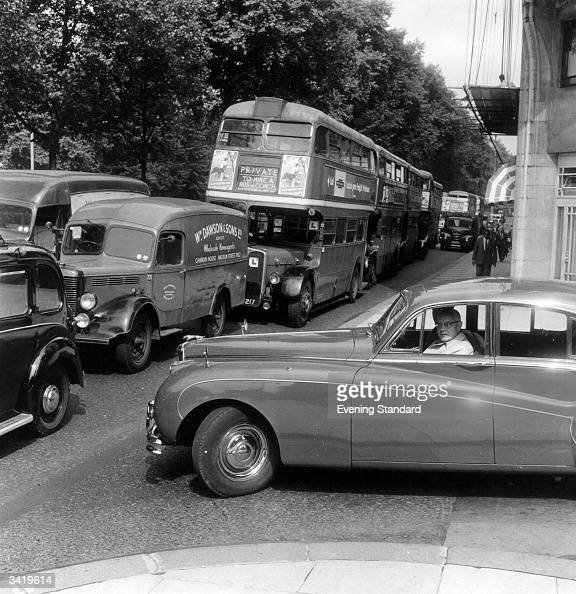 A traffic jam on Park Lane London