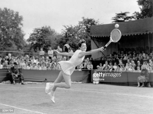 Australian tennis player Margaret Smith in action on her way to beating Christine Truman in the final at the Kent Championships at Beckenham
