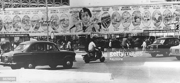 An expansive roadside hoarding in New Delhi featuring the Indian Prime Minister Indira Gandhi and detailing her 20point economic programme