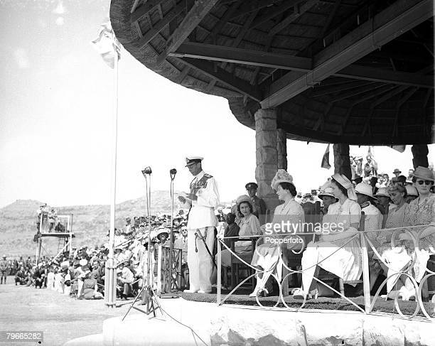 17th March 1947 Maseru South Africa King George VI makes a speech in the capital of Basutoland Protectorate watched by Queen Elizabeth and Princesses...