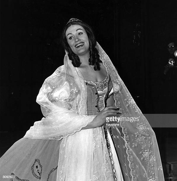 Dame Joan Sutherland Australian soprano during rehearsals for a new production of Bellini's ' I Puritani' which will be conducted by her husband...