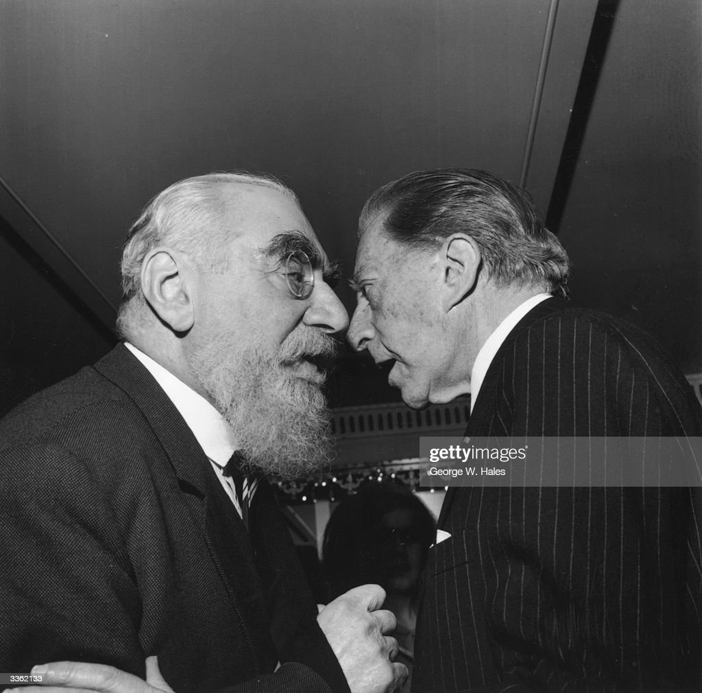 Two of the world's richest men - Nubar Sarkis Gulbenkian (1896 - 1972) and John Paul Getty (1892 - 1976) (right) - come face to face at a Foyle's literary luncheon to mark the publication of <a gi-track='captionPersonalityLinkClicked' href=/galleries/search?phrase=Nubar+Gulbenkian&family=editorial&specificpeople=943073 ng-click='$event.stopPropagation()'>Nubar Gulbenkian</a>'s autobiography.