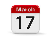 Calendar web button - The Seventeenth of March - St. Patrick's Day, three-dimensional rendering, 3D illustration