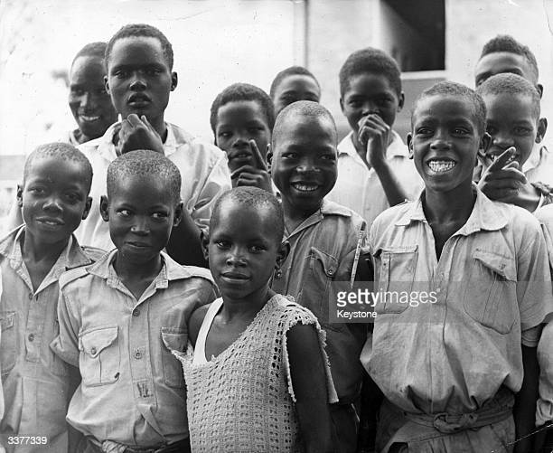 A group of boys in Nairobi Kenya after their release from a slave labour camp in Tanzania