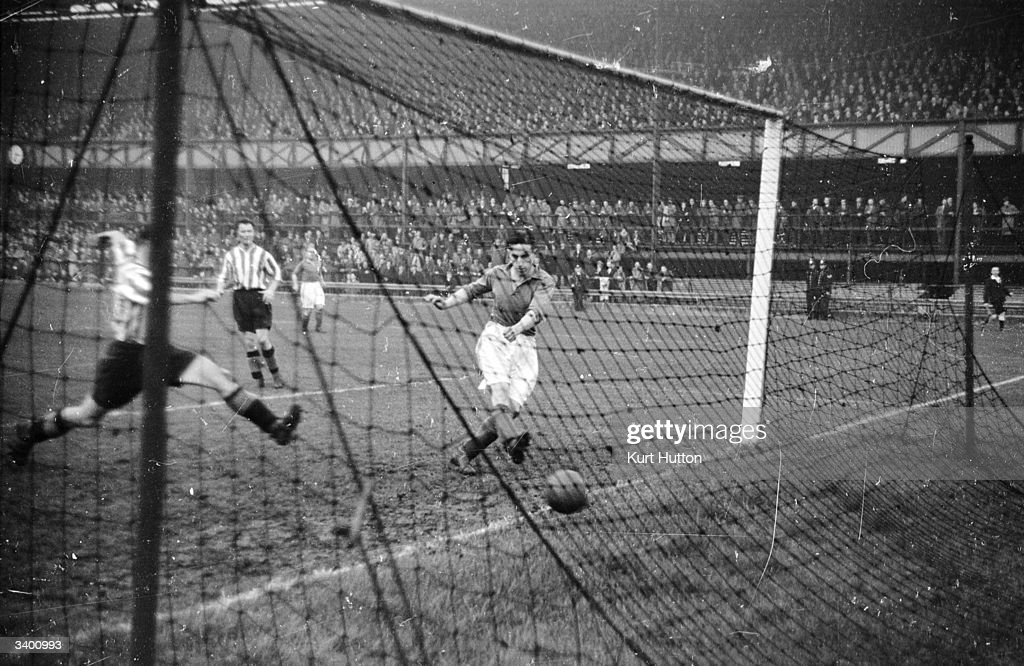 Everton's Catterick scores a goal against Sunderland on his debut. Original Publication: Picture Post - 3030 - When Everton Play Away - pub. 1945