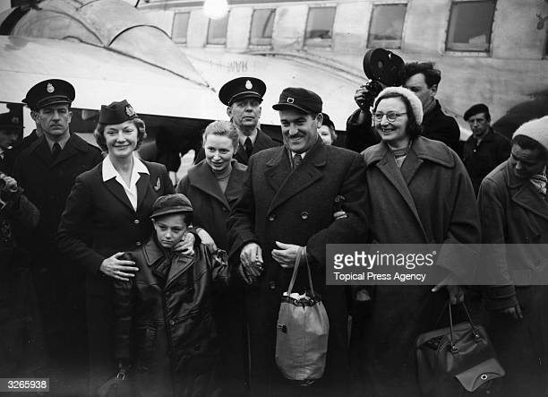 The first of 2500 Hungarian refugees offered settlement in Britain arrive in Hampshire at Blackbushe airport