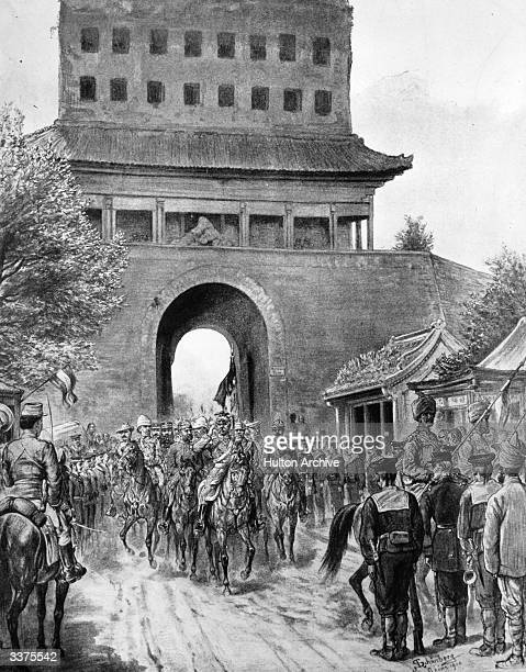 Surrounded by generals of the Allied Powers Field Marshal Count von Waldersee enters Peking by the Haterman Gate after the suppression of the Boxer...