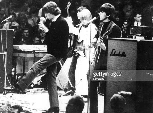 British rhythm and blues group the Rolling Stones performing on stage in West Berlin where they thrilled the teenage crowd for twenty minutes From...