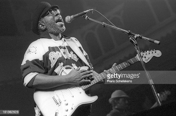 American soul musician Curtis Mayfield performs live on stage at the Paradiso in Amsterdam Netherlands on 17th October 1986