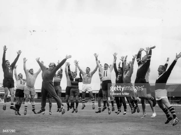 Members of the Australian Rugby League team practice their 'Haka' at West Ham Stadium in London before beginning their tour of Britain against France...
