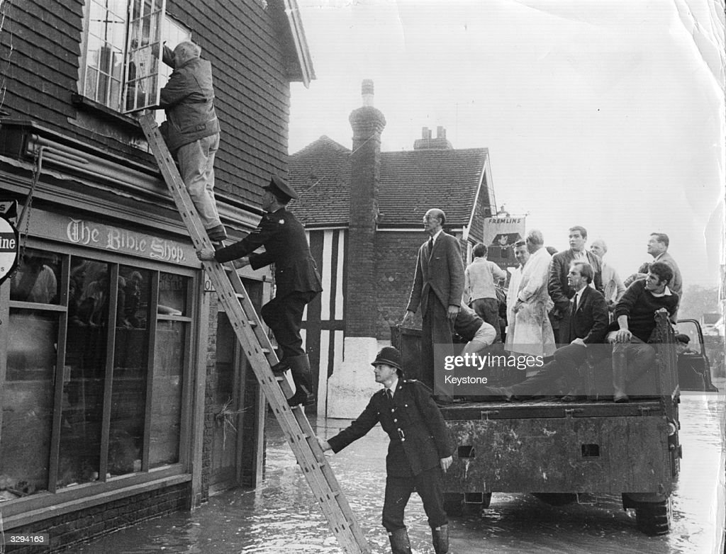 People are rescued from their flooded homes in Edenbridge, Kent, after the River Eden burst its banks.