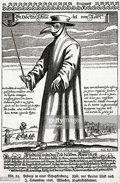 A 17thcentury illustration of a physician wearing protective clothing including a mask to protect against the plague