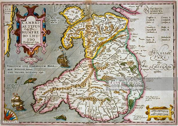17thCentury Map of Wales Engraved by Jodocus Hondius