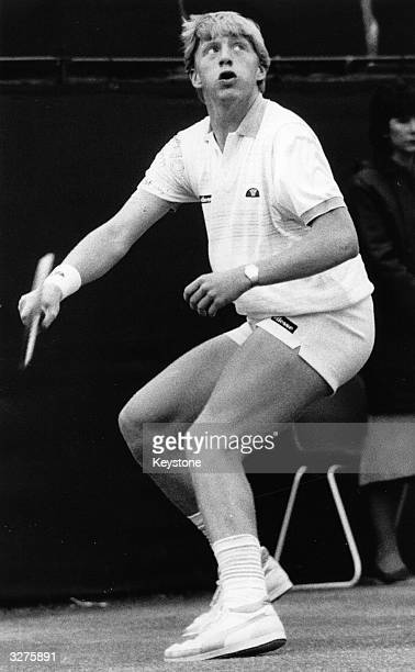 17yearold Boris Becker of West Germany waits for a high ball during the mens singles final at Wimbledon where he beat Kevin Curren to become the...