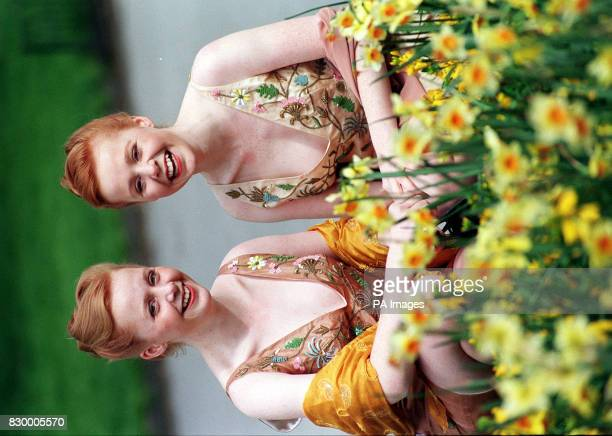 17yearold twin sisters Claire and Elaine KingLewis from Farnham Surrey rehearse for the 1998 NSPCC Berkeley Dress Show in London today The clothes...