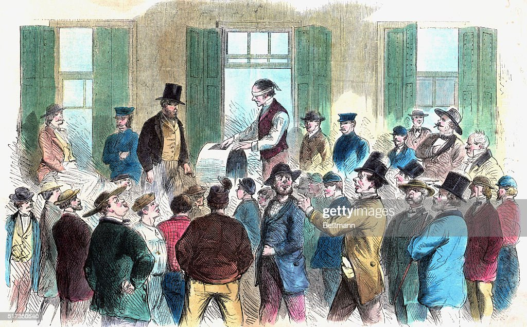 'Resumption of the draft in New York Inside the Provost Marshal's office Sixth District The Wheel Goes Round' Illustration 1863 Color slide