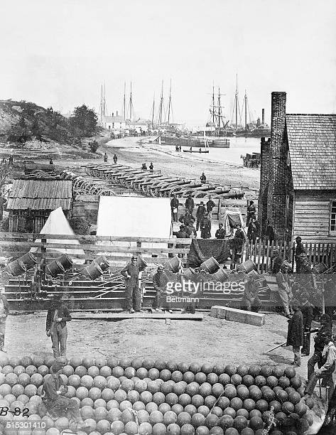 View in City Point VA with arsenal cannons ammunition of Union Army Photograph by Mathew Brady BPA2# 710